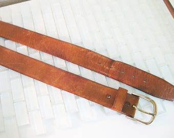 TEXAN Wide Brown Leather Belt 36 Glove Cowhide