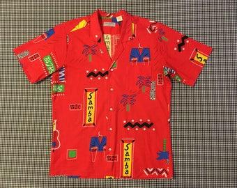 1980's, New Wave, Hawaiian shirt, in red, Men's size Medium