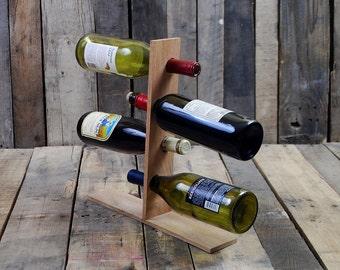 Standing Wine Rack - Reclaimed Wood - Holds 4 Bottles