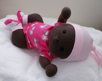 Large AA Baby Girl cloth handmade Doll Waldorf Inspired bald Embroidered black Eyes plush stuffed Easter Christmas OOAK soft sculpted toy