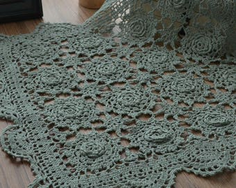 """20"""" Square Vintage Green Doily Dining Tray Cloth Table Topper French Country"""