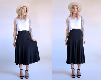 Vintage Skirt Midi Black High Waist