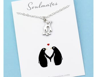 You Are my Penguin • Soulmates Necklace • Sterling Silver Charm • Eternal Love Jewelry • Meaningful Gift for Wife / Girlfriend