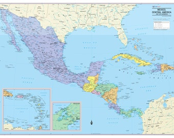 Mexico, Central America and Caribbean Map Wall Poster - 2018