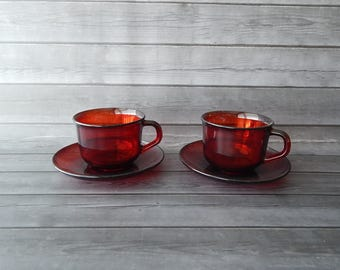 Arcoroc France Cups and Saucers - Set of 2 - Ruby Red