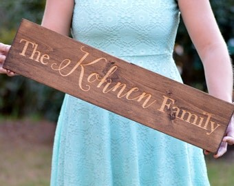 Rustic Family Name Sign, Wooden Last Name Sign, Family Established Board, Personalized Gift, Customized Family Established Sign
