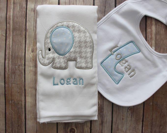 Baby Boy Elephant Burp Cloth Set - Monogrammed Elephant Burp Cloth and Bib - Elephant Baby Gift - Personalized Baby Boy Gift, Grey Elephant