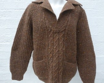 Jumper mens sweater brown fishermans chunky clothing vintage rustic fashion wool handmade 1980s womens sweater jumper top ladie clothes knit