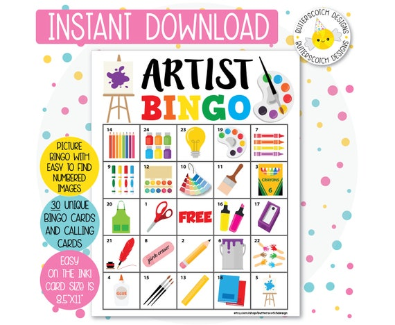 Artist Art Party Printable Bingo Cards 30 Different Cards