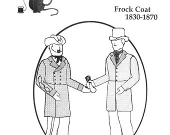 Men's 1830-1870 Civilian, Civil War Union or Confederate Frock Coat - Tailor's Guide Sewing Pattern