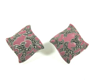Vintage Marcasite, 925 Sterling Silver And Rose Pink Enamel Signed Art Deco Post Earrings
