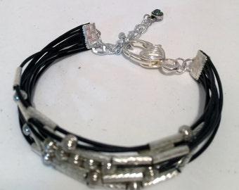 8 Strand Black Leather Bracelet, Women's Bracelet, Focal Silver Beads