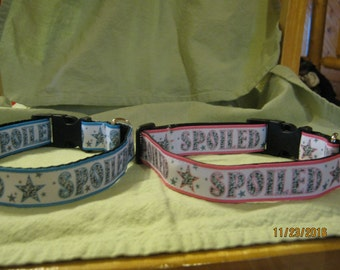Adjustable Dog Collar, Handmade, SPOILED Design,  Choose S ~ M ~ L / XL Pink or Blue