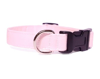 Light pink dog collar & cat collar - adjustable with removable bell (optional)
