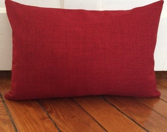 Red Lumbar Pillow Cover, Cherry Red Rustic Lumbar Pillow Cover, Rustic Red Decorative Pillow Cover