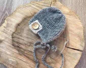 ON SALE! Baby knit hat, Newborn bonnet, Handmade, Button, Hat, RTS