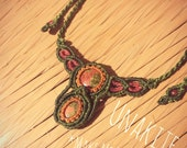 Macrame necklace with unakite