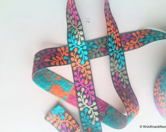 Shimmer Black Fabric Trim With Orange, Gold, Green And Fuchsia Thread Embroidery - 200317L278