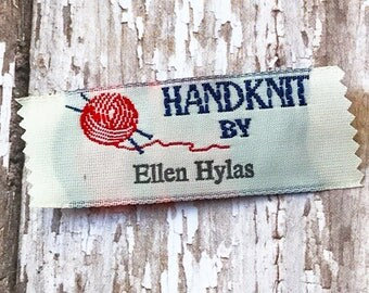 Clothing Labels, HandKnit By Labels Sew on Woven Clothing Labels, Knitting Labels, Woven Labels, Personalized Knitting Labels