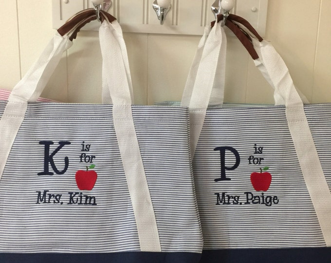 Teacher gifts/ teacher tote bag/ Seersucker Tote Bag/Cap/Seersucker Tote/Seersucker Baseball Cap/Monogrammed Item  Christmas gift