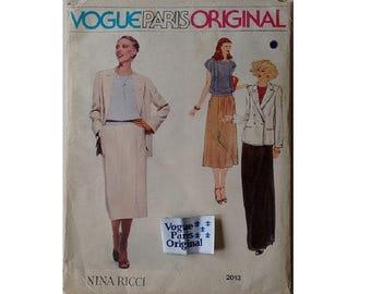 """UNCUT inc Sew in Label Vogue Paris Original #2013 Nina Ricci Pant Suit Jacket Top Skirt Trouser Culotte Sewing Pattern Size Bust 32.5"""" UK 10"""
