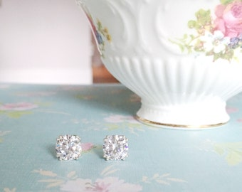 Cubic Zirconia Studs | Tulip Setting Studs | Simple Silver Studs | CZ Stud Earring | Silver CZ Earrings | Gift for Her | Silver Stud Earring