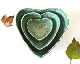 Handmade Stoneware Set of 3 Heart Shaped Nesting Bowls in Mint spekled - Set Of 3 nesting Heart Bowls