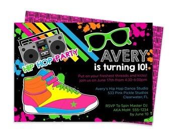 Hip Hop Invitation, Hip Hop Party, Dance Invitation, Dance Party Invitation, Dance Party, Dance Printable | 533