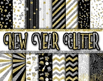 New Years Glitter Digital Paper - New Years Eve Backgrounds - Gold and Silver Glitter Papers - 16 Designs - 12in x 12in - Instant Download