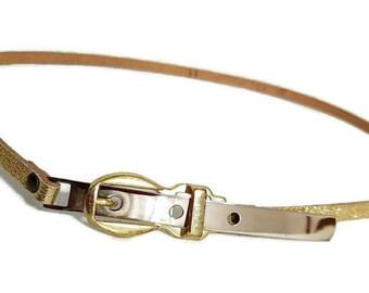 Skinny Gold Belt Vintage Woman's Small Metallic Shiny