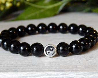 Mens Yin and Yang Bracelet, Mens Black Onyx, Mens Black Bracelet, Mens Bracelet, Mens Black Bracelet, Mens Jewelry, Gift for Him