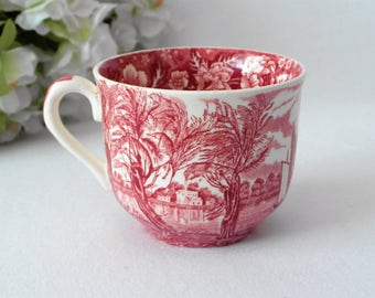 Cup THAMES RIVER SCENES red white Transferware Palissy porcelain coffee mug / small blemish
