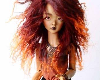"BJD mohair wig - Burning Lava - 6/7"""