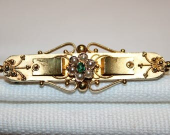 15ct Victorian Emerald and Seed Pearl Fancy Bar Brooch
