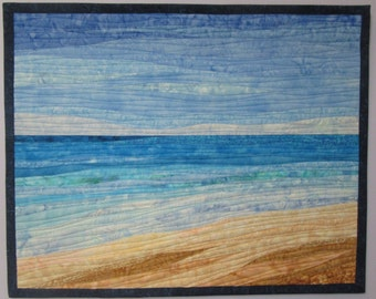 Art Quilt Ocean with Dunes 9, Wall Hanging