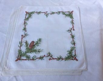 French Vintage Set of 5 napkins, autumn pine cones