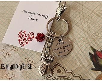 Huamn Heart Keychain Listen with you heart Motivational Keychain
