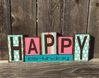 Happy Birthday wood blocks, birthday decor, birthday blocks