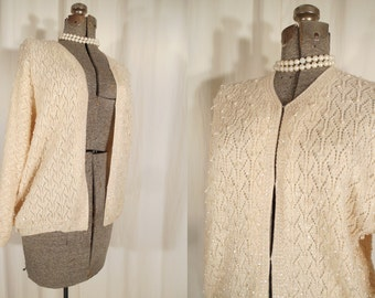 1950s Beaded Cardigan - Vintage Plus Size 50s White Wool Sweater with Crystal Beads