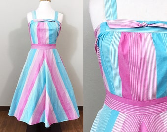 1940s Vintage Dress / 40s Sundress / Cotton / Striped / Pink and Blue