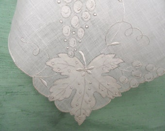 White on white embroidered and appliqued Madeira handkerchief / unused grape leaf motif linen hankie