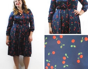 Stylish Vintage Cherry Print Dress, Dark Blue Dress, Long Sleeve Dress, Cherry Print Dress, Retro Blue Dress, Cute Vintage Dress