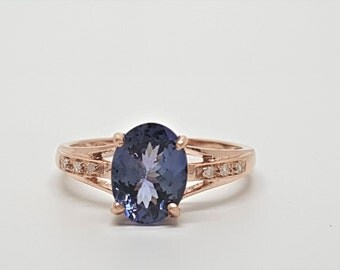 1.93ctw Tanzanite & Diamond 10kt Rose Gold Ring Size 6.5