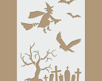 Witch, bats, cemetery - Halloween Stencil