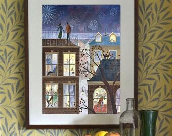 Original Design A3 A2 A1 Art Print Illustration Poster Romantic Couple Fireworks Night Cityscape New Year Celebration London Thames Skyline