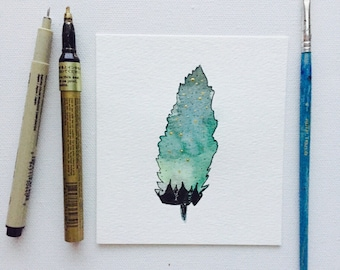5x4 1/2 Original Feather Watercolor-Blues-Greens-Greys-Gold-Mystical Art-Aurora Borealis-Michigan Night Sky