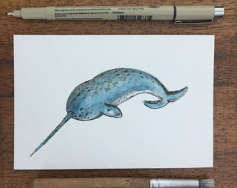 4x6 Moonlit Narwhale-Watercolor Ink and Charcoal