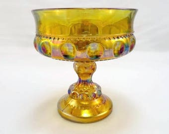 Vintage Amber Carnival Glass Bowl with Pedestal Tear Drop Candy Bowl