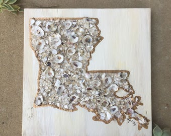 Crushed shell silhouette // oyster shell art / louisiana art / mixed media Louisiana/ Louisiana wedding gift / gift for her / LA gift