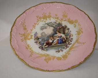 Beautiful Vintage Pink Limoges Cabinet Plate Courting Couple French Porcelain Plate Pink Scalloped Plate Fragonard Scene Wedding Tea Table